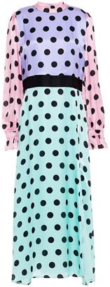 Olivia Rubin Marley Color-block Polka-dot Silk-satin Maxi Dress