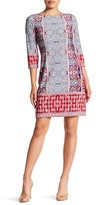 London Times 3/4 Length Sleeve Print Shift Dress (Petite)