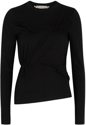 Preen Line Black Ruffled Jersey Top