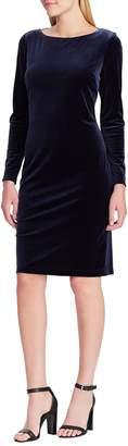 Chaps Boatneck Velvet Sheath Dress