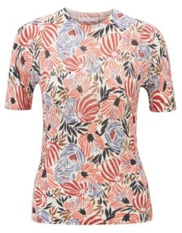 HUGO BOSS Short Sleeved Knitted Sweater With Floral Print - Patterned