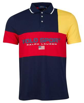 Polo Ralph Lauren Patchwork Mesh Sport Polo Shirt Colour: Red Multi, Size: SM