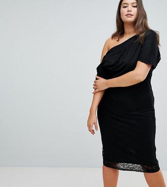 Asos DESIGN Curve pleated shoulder lace midi dress-Black