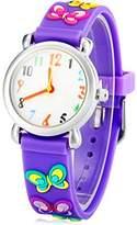New Girls Purple Butterfly 3D Rubber Children Cartoon Watch Xmas Birthday Gift Environmentally Friendly