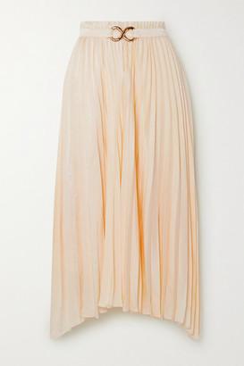 REJINA PYO Kiera Belted Pleated Satin Midi Skirt - Ivory