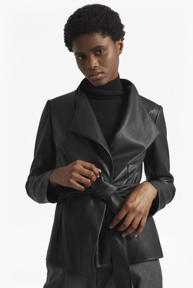 French Connection Margarette Faux Leather Wrap Over Jacket