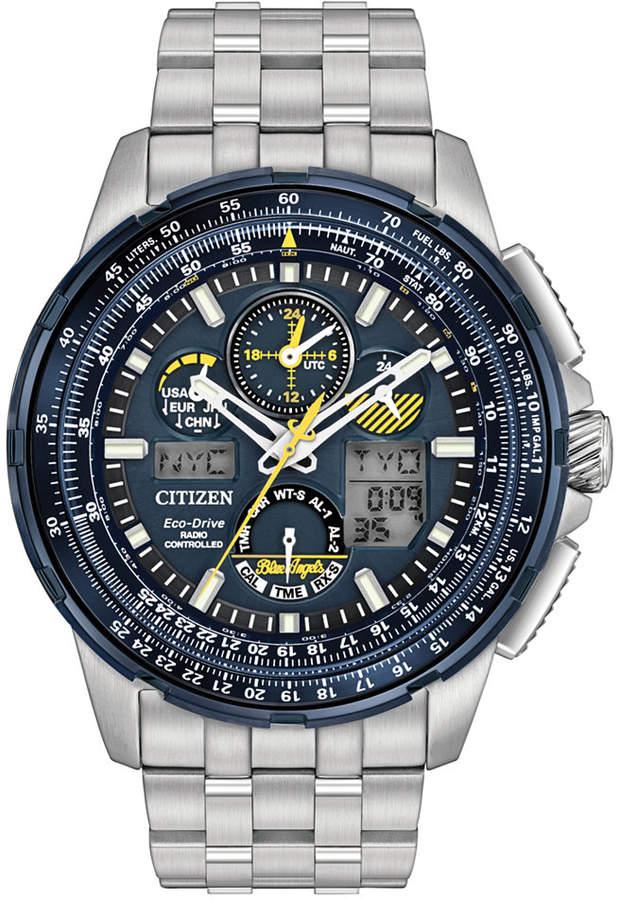Citizen Eco-Drive Men's Analog-Digital Chronograph Skyhawk A-t Stainless Steel Bracelet Watch 47mm JY8058-50L