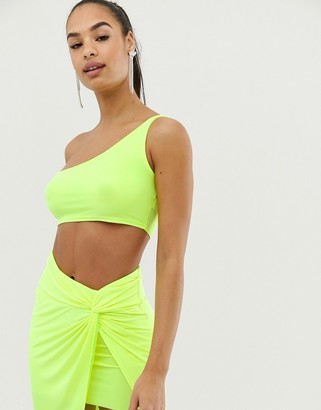 Club L neon one shoulder crop top