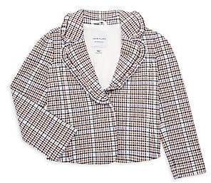 Janie and Jack Little Girl's & Girl's Ruffle-Lapel Plaid Blazer