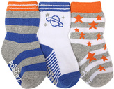 Robeez Orange & Blue Outer Space Three-Pair Socks Set