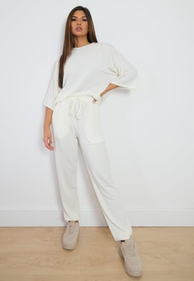 Missguided Tall Cream T Shirt And Joggers Co Ord Set