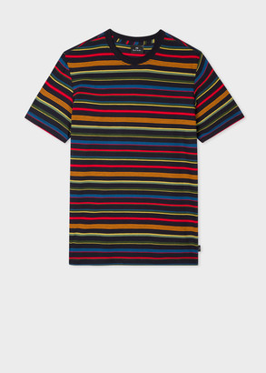 Paul Smith Men's Multi-Colour Stripe Cotton T-Shirt