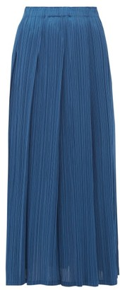 Pleats Please Issey Miyake Pleated Midi Skirt - Womens - Blue