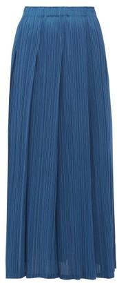 Pleats Please Issey Miyake Pleated Midi Skirt - Womens - Blue