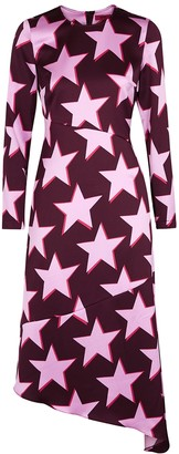 HUGO BOSS Komerla Star-print Hammered Satin Midi Dress