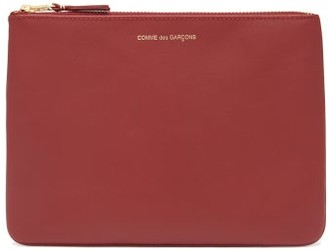 Comme des Garcons Zipped Leather Pouch - Womens - Red