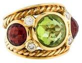 David Yurman 18K Peridot, Garnet & Diamond Ring