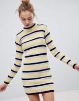 Daisy Street High Neck Sweater Dress In Retro Stripe