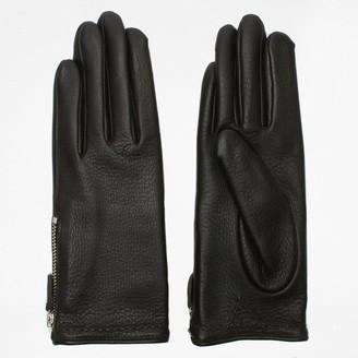 Agnelle Araxie Brown Leather Zip Detail Gloves