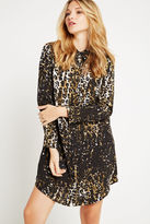 BCBGeneration Leopard Print Shirt Dress - Black