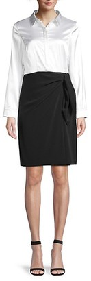 Donna Karan Draped Colorblock Shirtdress