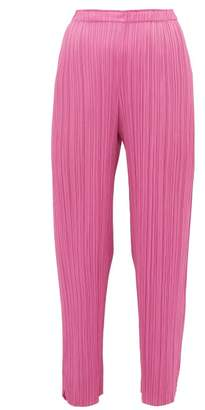Pleats Please Issey Miyake Split-cuff Pleated Trousers - Womens - Pink