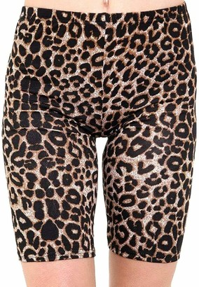 GirlzWalk Womens Ladies Double Side Stripe Cotton Active Gym Cycling Shorts Tights Hot Pants (Leopard Brown ML 12-14)