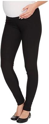 Plush Maternity Fleece-Lined Cotton Under-Belly Leggings (Black) Women's Clothing