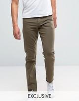 Noak Stretch Slim Jeans In Dark Khaki