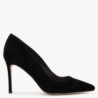 Laceys Adore Black Suede Court Shoes
