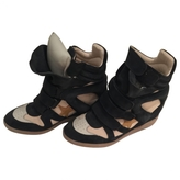 Isabel Marant Navy blue suede and leather high-top Bayley Sneaker Wedges