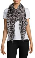 Saint Laurent Grand Leopard Wool Scarf