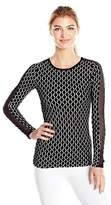 Trina Turk Recreation Women's Geo Knit Longsleeve Top with Mesh Inserts on Sleeves