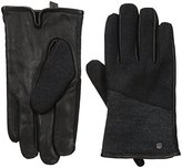 Calvin Klein Men's Mixed Media Knit Insert Leather Glove with Touchscreen Technology