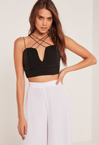 Missguided Cross Over Straps V Neck Bralet Black