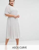 Asos WEDDING Embellished Flutter Sleeve Midi Dress