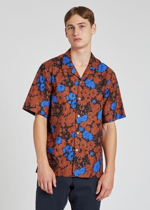 Paul Smith Men's Brown 'Archive Floral' Short-Sleeve Shirt