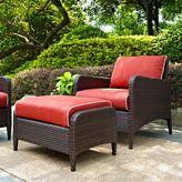 Crosley Kiawah 2-Piece Wicker Arm Chair and Ottoman Set
