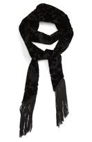 Topshop Women's Jacquard Velvet Tassel Scarf