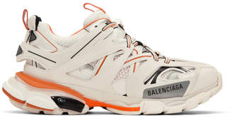 Balenciaga Off-White and Orange Track Sneakers