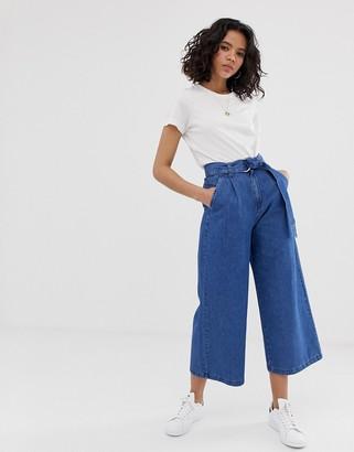 Asos Design DESIGN lightweight soft belted denim culotte in mid wash blue