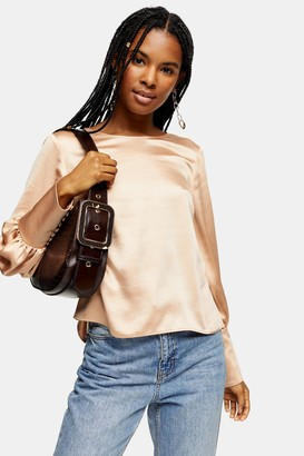 Topshop Womens Satin Tie Back Blouse - Champagne