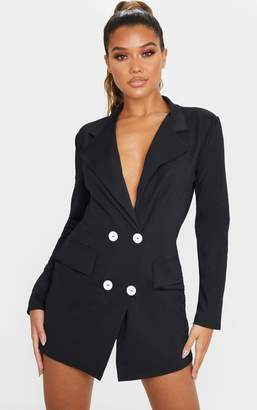 PrettyLittleThing Black Long Sleeve Contrast Button Plunge Blazer Dress