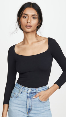 Free People Square Neck 3/4 Sleeve Top