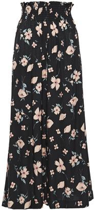 Rebecca Taylor Cropped Floral-print Silk-blend Jacquard Wide-leg Pants