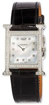 Hermes Heure H MM Watch with Diamonds & Black Alligator Strap