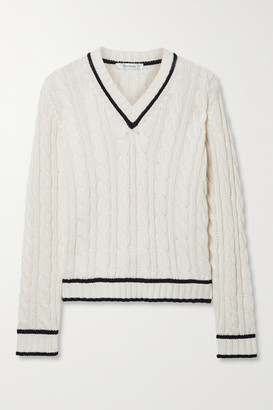 Max Mara Belgica Striped Cable-knit Cotton, Cashmere And Silk-blend Sweater - Ivory
