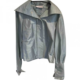 Carolina Herrera Blue Silk Jacket for Women