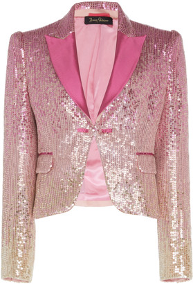 Jenny Packham Cira Satin-Trim Sequined Blazer