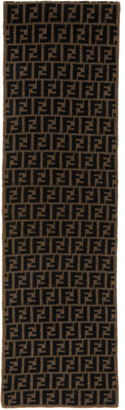 Fendi Brown and Black Wool Forever Scarf